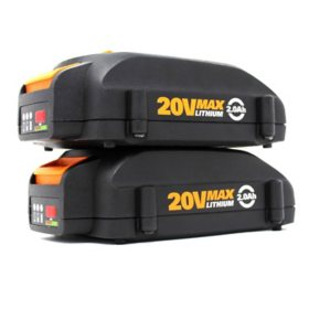 WORX 20V 2.0 Ah Max Lithium-Ion Replacement Battery - 2 Pk.