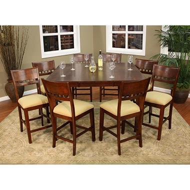 00 plaza ii 9 piece solid wood counter height dining set dealepic