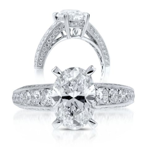 3.08 ct. t.w. Premier Diamond Collection Oval & Pave Diamond Ring (G, SI1)