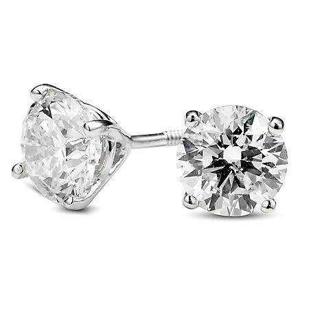 5acf9c98b t.w. Premier Diamond Collection 3-Prong Martini Round Diamond Earrings in  Platinum (H-I, SI2-I1)