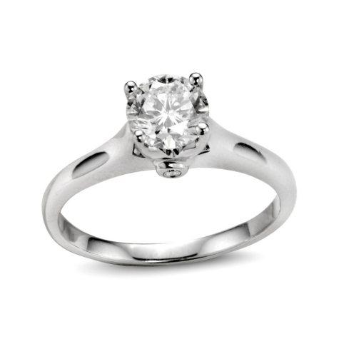 0.88 ct. t.w. Premier Diamond Collection Round Diamond Solitaire Ring + 2 Accent Diamonds in 14k White Gold (I, SI2)