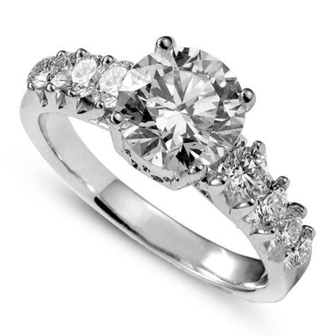 2.02 ct. t.w. Premier Diamond Collection Round Diamond Ring + 8 Accent Diamonds in 14k White Gold (E, SI2)