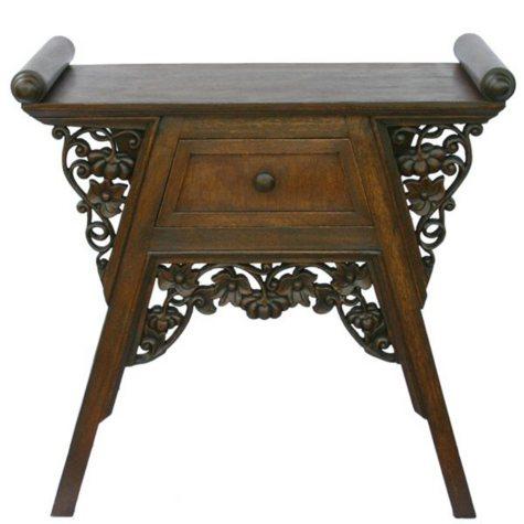 Carved Teak Wood & Rattan End Table - Dark Finish