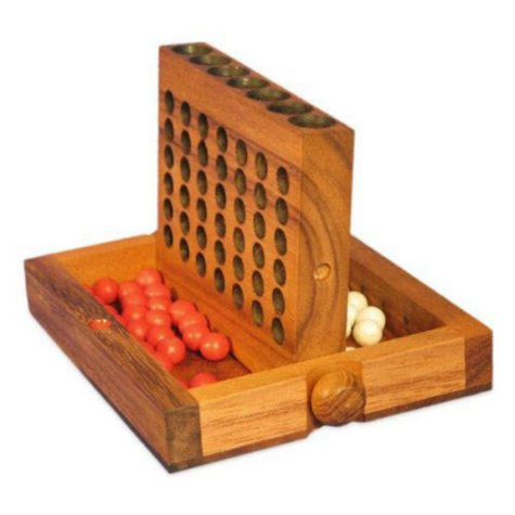 Carved Hand-Painted Travel Size Connect Four Game