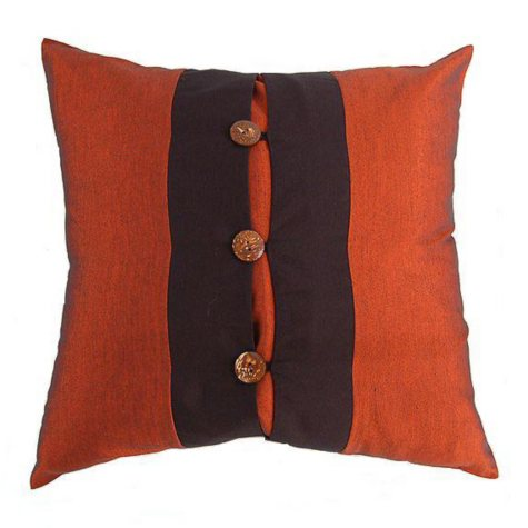 Decorative Orange & Black Silky Pillow Sham