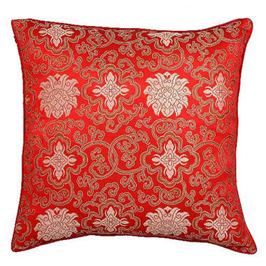 Handmade Chinese Lotus Flowers Red Pillow Sham