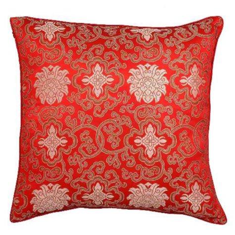 Handmade Chinese Lotus Flowers Red Pillow Sham