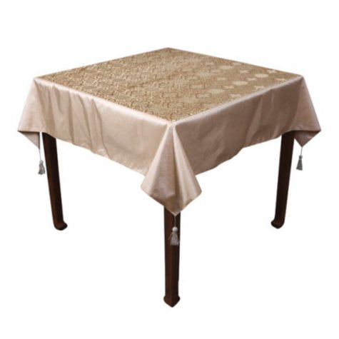 Floral Pattern Gold Tablecloth with Tassels