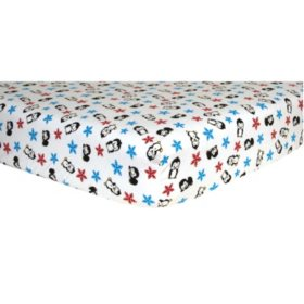 Trend Lab Flannel Fitted Crib Sheet, Penquin