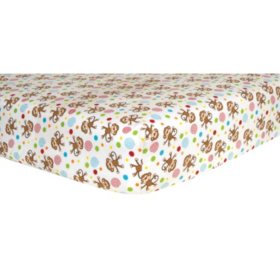 Trend Lab Flannel Fitted Crib Sheet, Monkey Scatter