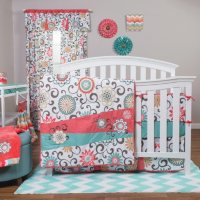Waverly Pom Pom Play 4-Piece Crib Bedding Set, Coral