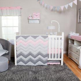 Trend Lab 3-Piece Crib Bedding Set, Cotton Candy Chevron