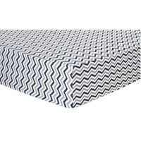 Trend Lab Flannel Fitted Crib Sheet - Navy, Gray and White