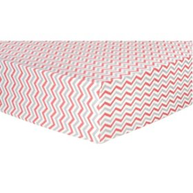 Trend Lab Flannel Fitted Crib Sheet - Coral, Gray and White Chevron