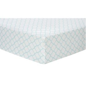 Trend Lab Flannel Fitted Crib Sheet, Mint Quaterfoil