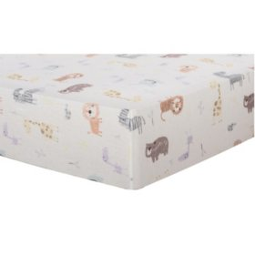 Trend Lab Flannel Fitted Crib Sheet, Crayon Jungle