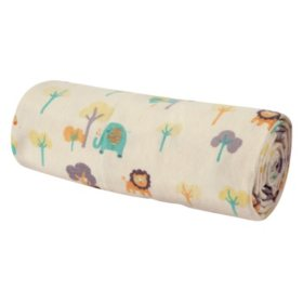 Trend Lab Flannel Swaddle Blanket, Lullaby Jungle