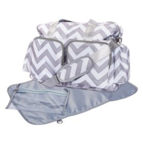 Trend Lab Deluxe Duffle Diaper Bag, Gray and White Chevron