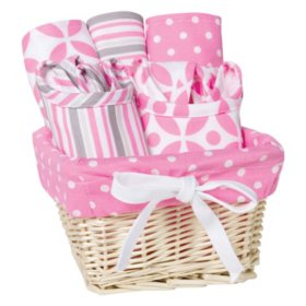 Trend Lab 7-Piece Feeding Basket Gift Set, Lily