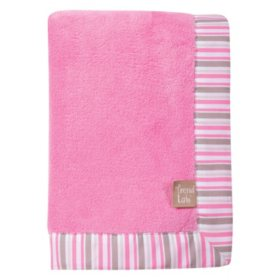 Trend Lab Coral Fleece Baby Blanket, Lily Stripe