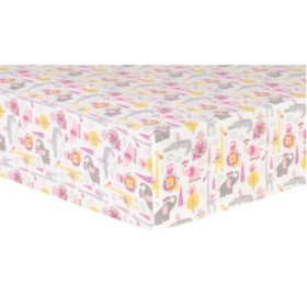 Trend Lab Deluxe Flannel Fitted Crib Sheet, Animal Safari
