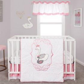 Trend Lab 4-Piece Crib Bedding Set, Swans