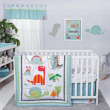 Trend Lab 4-Piece Crib Bedding Set, Dinosaur Roar