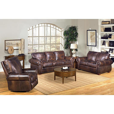 Kingston 3 piece 100 top grain leather living for Best living room set deals