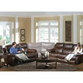 Remarkable Colton Leather Reclining Sectional Living Room 2 Piece Set Gamerscity Chair Design For Home Gamerscityorg