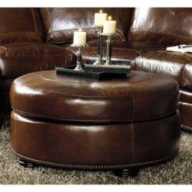 Remarkable Arlington Vintage Leather Craftsman Round Ottoman Sams Club Beatyapartments Chair Design Images Beatyapartmentscom