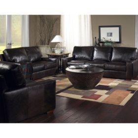 Burbank Vintage Leather Craftsman Living Room 3-Piece Set ...