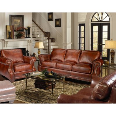Bristol Top Grain Vintage Leather Craftsman Living Room Set