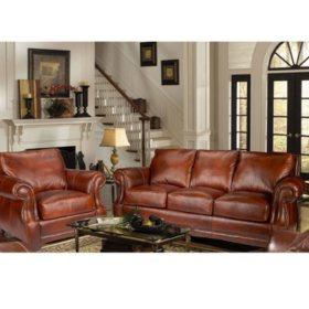 Bristol Top-Grain Vintage Leather Craftsman Living Room Set ...