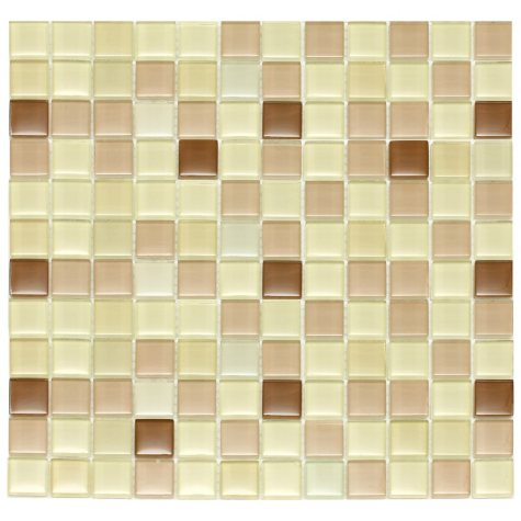 "Light Brown Mosaic Glass Tile - 6 - 12"" x 12"" Sheets"