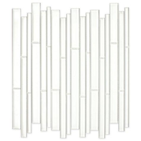 "White Bamboo Mosaic Glass Tile - 6 - 12"" x 12"" Sheets"