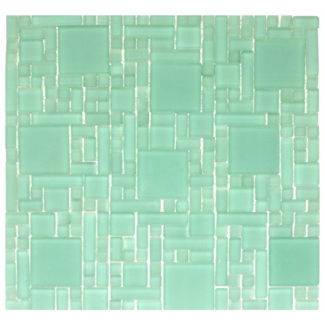 """Frosted Green Mosaic Glass Tile - 6 - 12"""" x 12"""" Sheets"""