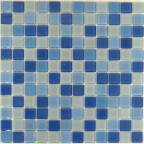 Blue & White Mosaic Glass Tile - Sample