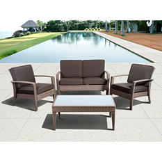 Cavalier Gray Synthetic Wicker Patio Seating Set with Gray Cushions (4 pcs.)