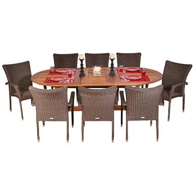 Catalunya Eucalyptus/Wicker Extendable 9 Piece Oval Patio Dining Set
