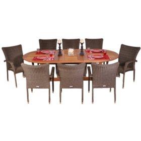 Catalunya Eucalyptus/Wicker Extendable Oval Patio Dining Set (9 pcs.)