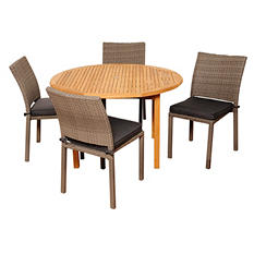 Spezia Teak Round Patio Dining Set with Gray Cushions (5 pcs.)