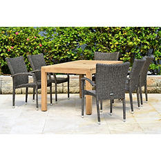 Levante Teak/Wicker Rectangular Patio Dining Set (7 pcs.)