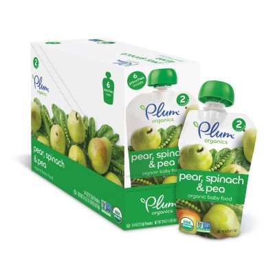 Plum Organics Stage 2 Organic Baby Food, Spinach, Peas & Pear (4 oz., 6 pk.)