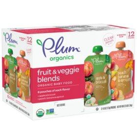 Plum Organics Stage 2 Organic Baby Food, AB & PBA Fruit & Veggie Variety Pack (4 oz., 12 pk.)