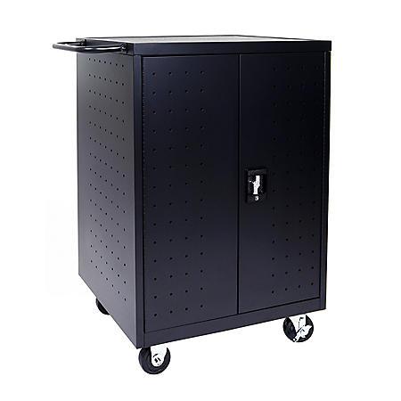 Luxor Black 24 Laptop Computer Charging Cart