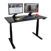 """60"""" Electric Standing Desk, Black Oak"""