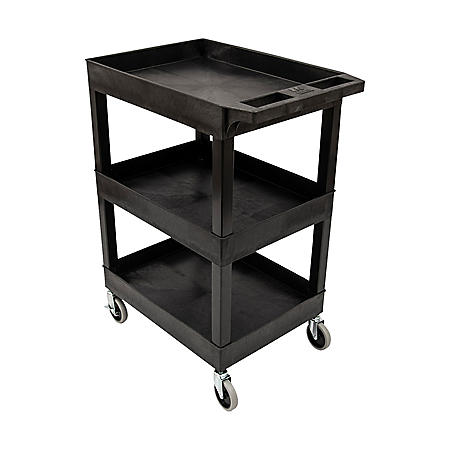"24"" x 18"" Plastic Utility Tub Cart- Three Shelf  (Black)"
