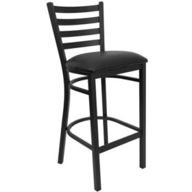 Hospitality Stool Black Metal - Ladder Back - Black Vinyl Upholstered Seat - 4 Pack