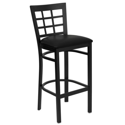 Hospitality Stool Black Metal - Window Back - Black Vinyl Upholstered Seat - 4 Pack
