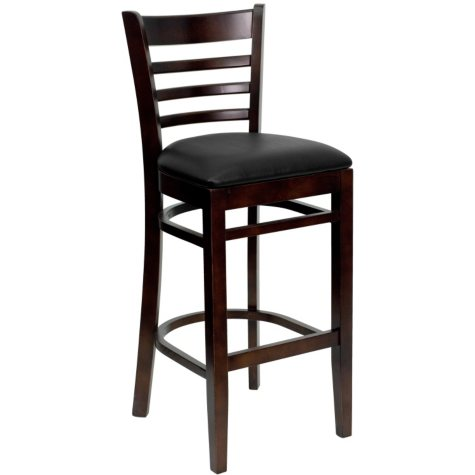 Hospitality Stool Walnut Wood - Ladder Back - Black Vinyl Upholstered Seat - 4 Pack